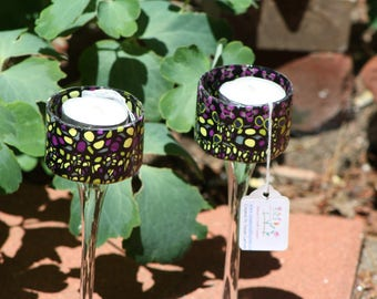 Stained Glass-like Stem Votive Candle Holder