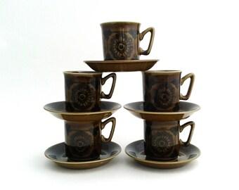 10 Pcs Stavangerflint Norway Sera Vintage Demitasse Cups And Saucers Inge Waage
