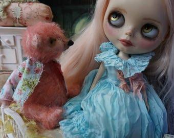 """OOAK Artist Bear - EDUARDO - 5"""" Tall Hand-Dyed SALMON Peach Mohair Collectible Teddy Bear"""