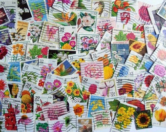 Flower Postage Stamps - 80 US stamps all different