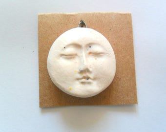 Ivory Speckled Glazed Kiln Fired Clay Face Pendant Finding