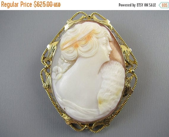 ANNUAL CAMEO SALE Antique Edwardian 14k gold filigree cameo brooch pin pendant necklace woman with mink stole