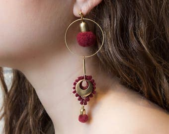 Lace earrings - ARTILLERY - Black, ivory, olive green or raspberry lace