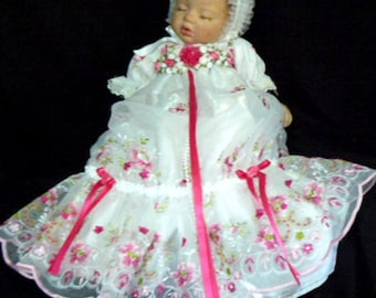 Fuschia Embroidered GOWN for REBORN Doll or BABY size 0-3 month