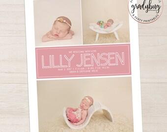 Photo Birth Announcement, Newborn Announcement, Baby Announcement, Birth Card, Photo Baby Card, Girl Birth Announcement, Pink