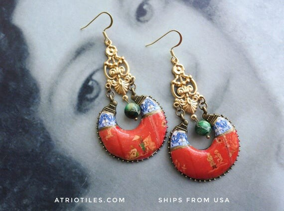 Chinoiserie Earrings Red Frescoes Portugal Tiles  Antique Azulejos Aveiro Convent and Maceda Blue Tile Border