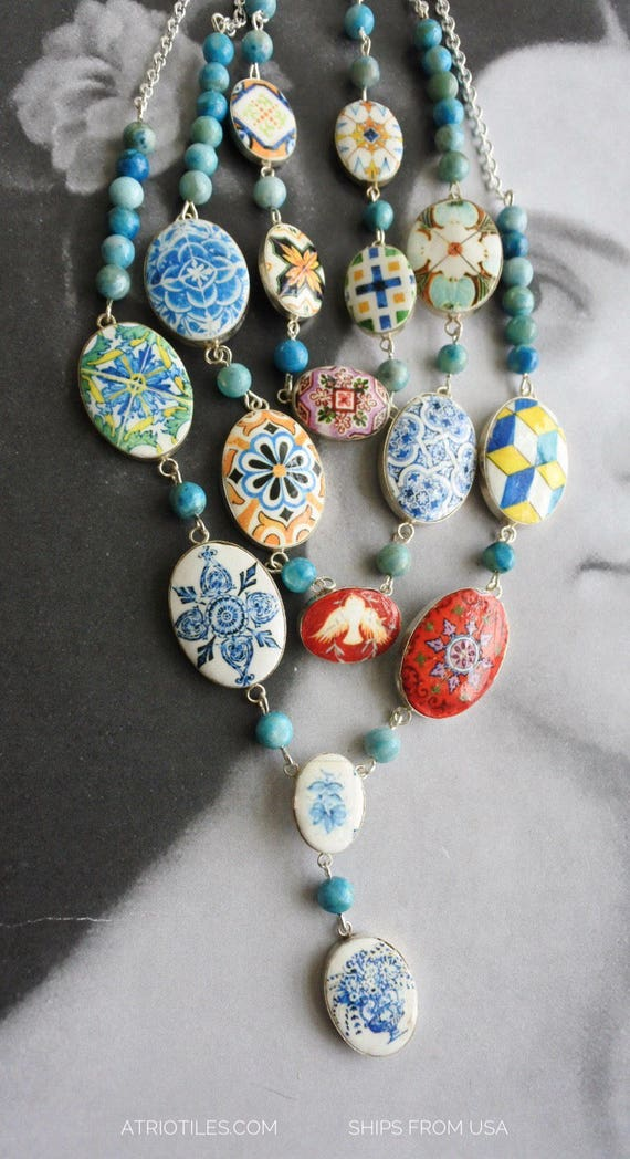 925 Silver Layered Necklace Portugal Azulejo Tile Necklace 3 in One Convertable  Bib STATEMENT OOAK Majolica Mosaic History Ethnic Persian