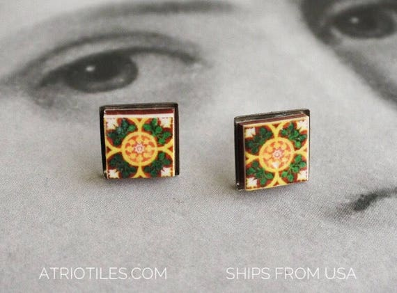 Stud Earrings Post Portugal Tile STAINLESS STEEL Antique Azulejo Portuguese Green Ovar and Braga Hypo allergenic  Ships from USA 281