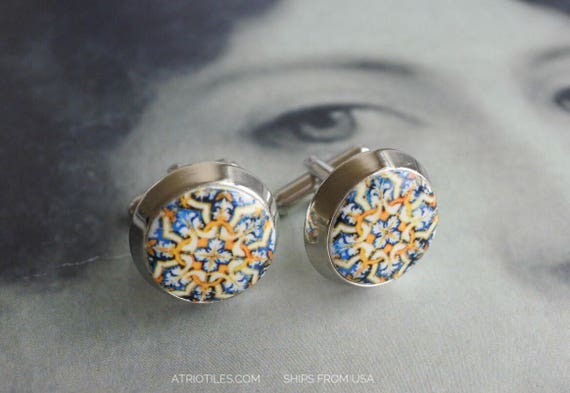 Cuff Links Portugal Antique Azulejo Tile Replica Cuff Links - Évora Pousada and University (see photos) Unisex _ gift box included