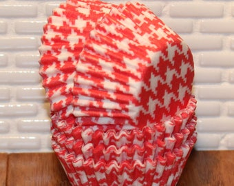 MINI Red Houndstooth Cupcake Liners (Qty 50)  Mini Red Houndstooth Baking Cups, Mini Red Cupcake Liners, Mini Red Baking Cups, Baking Cups
