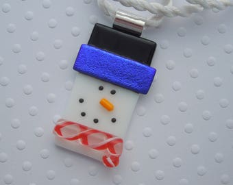 Snowman Jewerly - Christmas Ornament - Dichroic Fused Glass Pendant - Christmas Pendant - Snowman Pendant - Christmas Jewelry X1594