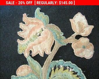 Antique Applique French Silk 19thc