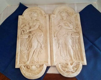 Pair of Victorian Plaster Plaques - Fire and Water