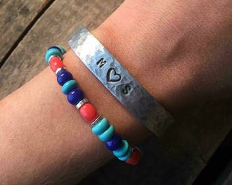 Custom Initial Hand Stamped Bracelet- Gift for her- Love- Soul Mate- Heart