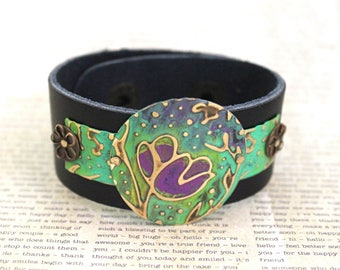 Leather Bracelets for Women, Leather Cuff Bracelets, Vintaj Jewelry, Green Jewelry, Purple Jewelry, Bracelet, Flower Jewelry, Boho Jewelry