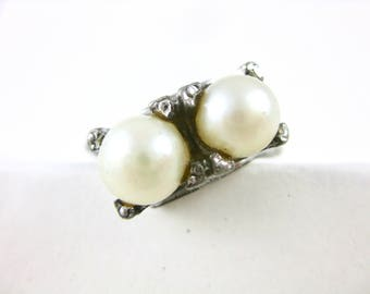 Size 7 3/4 Vintage Sterling Silver Two Stone Pearl Ring