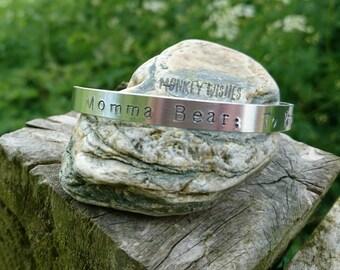 MOMMA BEAR cuff, bracelet, personalised, custom, mum gift