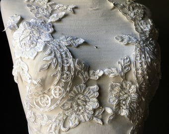 IVORY w/ Silver cord Appliques  Beaded Pair for Grad, Illusion Gowns, Lyrical Dance, Ballet, Bridal, Costumes PR 33ivsl