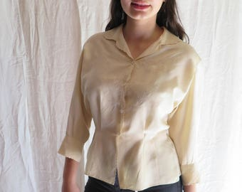 Vintage Silk Blouse with Embroidery in Ivory by Maria Fluschak & Co. Wien Long Sleeve Size 44 Large