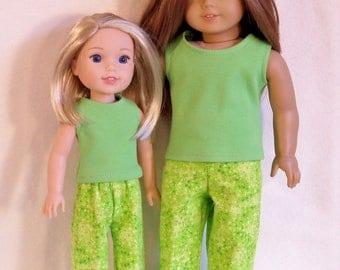 18  and 14 1/2  inch Dolls Apple Green Sleeveless Tank Top with Apple Green Flannel Pajama P J Lounge Pants