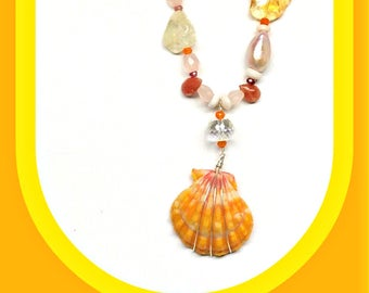 Unique Sunrise Shell Necklace, OOAK Necklace, Hawaiian Jewelry, Yellow Gemstone and Shell Necklace, Shell Jewelry, Resort Accessory, Hawaii