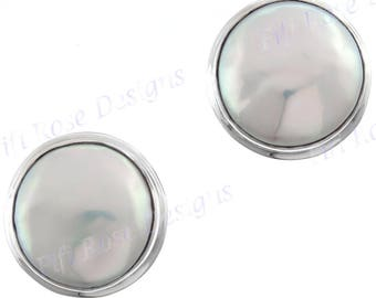 White Freshwater Coin Pearl 925 Sterling Silver Post Earrings