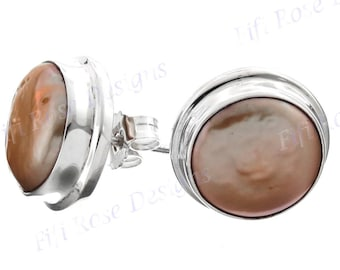 Peach Freshwater Coin Pearl 925 Sterling Silver Post Earrings