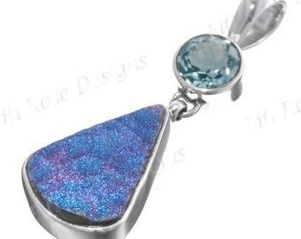 "1 3/4"" Stunning Topaz Cobalt Titanium Druzy Drusy 925 Sterling Silver Pendant"