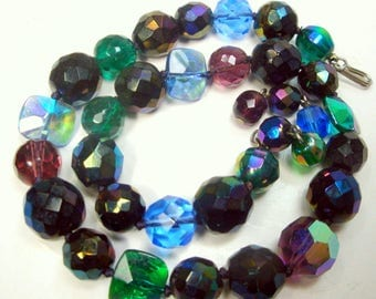 Handsome Aurora Borealis Glass Vintage Bead Necklace, 1 Strand Knotted, Adjustable Length, Gem Color Choker, Dark Rainbow Beads, 1960s