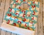 "SALE! Holiday Polar Bear Toddler Pocket Bib | Like a ""dish towel"" bib only better | Reversible and machine washable"