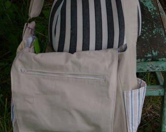 Louis's Messenger Bag -  Dark beige stripe