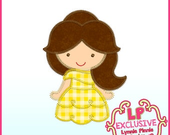 Triple Zig Zag Yellow Dress Princess  4 sizes 4x4 5x7 6x10  Machine Embroidery Design