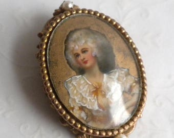 SUMMER SALE Hand Painted Portrait Pendant / Brooch - Signed Original by Robert