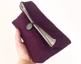 Amethyst Purple Silk Clutch, Silver Evening Bag, Holiday Fashion, Christmas Fashion, New Year's Eve Purse, Jewel Tone, Bridesmaid Gift Idea