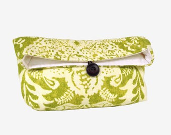 Green and Ivory Clutch Purse, Spring Wedding Bridal Clutch, Bridal Purse, Bridesmaid Gift Idea, Bridesmaid Clutch, Lace Pattern