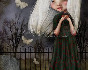 50% Off SALE Little Girl Art Print 'Pelottava' - Little Girl in Graveyard - 8.5x11 or 8x10 Medium Sized Fine Art Print - Vampire Child