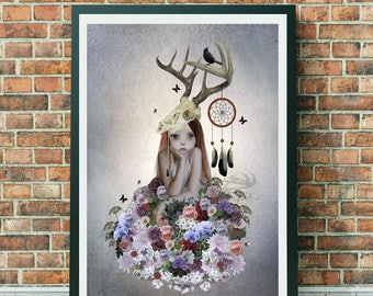 A3 Art print - Big Eyed Girl - Flower Girl Print - Wall Decor - The Collector