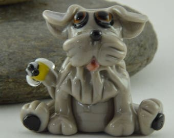 GREY DOG, Bumble Bee, Alberto the Dog, Whimiscal,  Glass Sculpture Collectible, Focal Bead, Izzybeads SRA