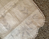 Unfinished Embroidery Flower Print Dresser Scarf with Hand Crocheted Edge