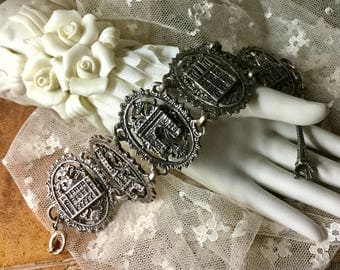 ON HOLD for TriciaAnne Tres Jolie Paris Tourist Bracelet Unsigned 1960's 1970's Oval Links Tarnished Silver Tone Patina Eiffel Tower