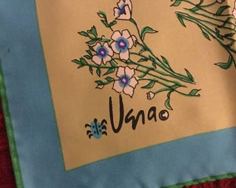 "So Lovely Late 1960's Signed Vera Neumann Floral Scarf 100% Polyester Made in Japan Daisies Beige Blue Green Ladybug Logo 21"" Square Woman"