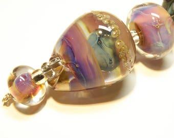Coordinating Set of Six (6) Bumpy Lampwork Borosilicate Beads: Purples, Pinks, Blues, Greens -- Lot 3N