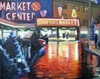 Metal Wall Art -12x12 Original fine art night light in Pike Place public market Christmas  reflections and lights