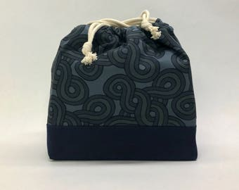 Cyprus Blue Large Drawstring Knitting Project Craft Bag - READY TO SHIP