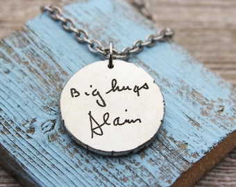 Custom Handwriting Coin Pendant Necklace with your loved one's actual handwriting, Pewter, Men's