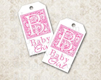 Monogram Tags Baby Shower Gift Tags Wish Tree Party Favor Treat Bag Tags TB005