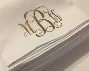 Pack of 12 combed cotton dinner napkins in white with your monogram.  Perfect for weddings and Christmas dinners.