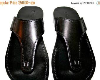 15% OFF Black Wave Leather Sandals For Men & Women - Handmade Unisex Sandals, Flip Flop Sandals, Jesus Sandals, Black Leather Sandals