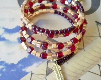 FSU Wrap Bracelet - Garnet glass beads and gold glass beads - Feather charms - College jewelry - One size fits all - bycat