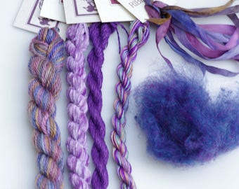 Grape Variety Thread  Pack. Limited Edition. Hand dyed by The ThreadGatherer. Silk.Wool.Cotton.Hand Dyed Fibers. Thread Sampler Pack.